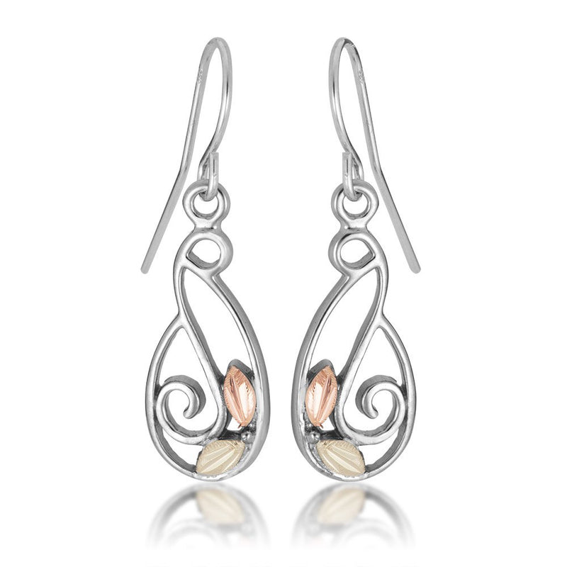 Mirror Polished Swirl Earrings, Sterling Silver, 12k Green and Rose Gold Black Hills Gold Motif