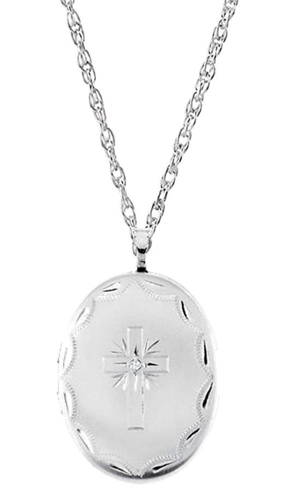"Oval Diamond Cross Sterling Silver Locket Pendant Necklace, 18"" (.015 Ct.)"