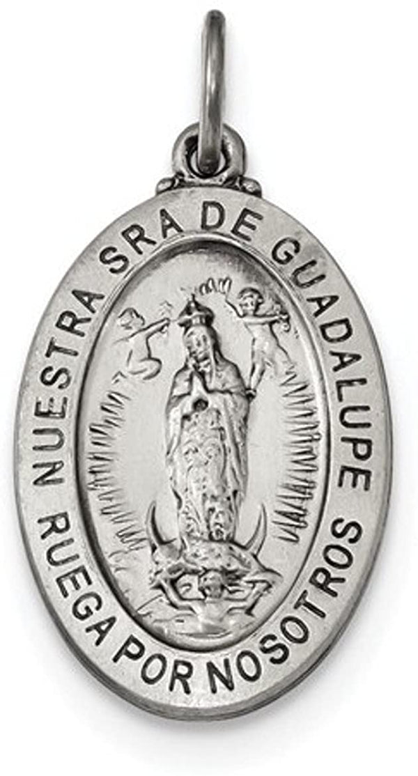 Sterling Silver Satin Antiqued Spanish Lady of Guadalupe Medal Pendant (26.5X16MM)