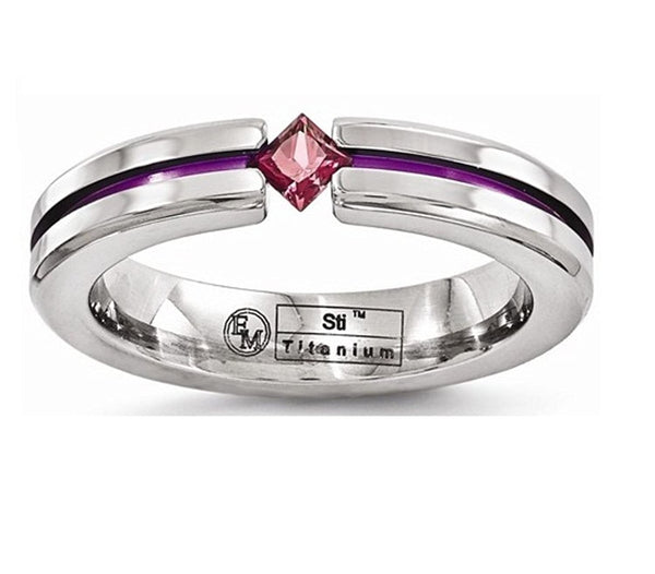 Edward Mirell Titanium Rhodolite Garnet and Grooved Pink Anodized 4mm Wedding Band
