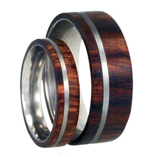 Ironwood, Titanium Pinstripe Comfort-Fit Titanium His and Her Wedding Band Set, M10-F4