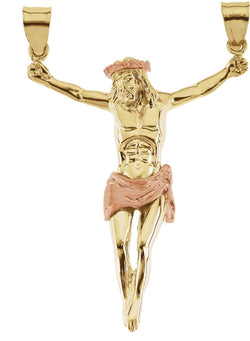 Large Raised Arm Crucifix Pendant, 14k Yellow Gold, 14K Rose Gold-Plated (53x38.5MM)