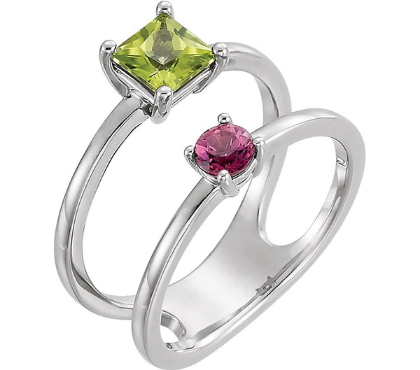 Peridot and Pink Tourmaline Two-Stone Ring, Rhodium-plated 14k White Gold, Size 6