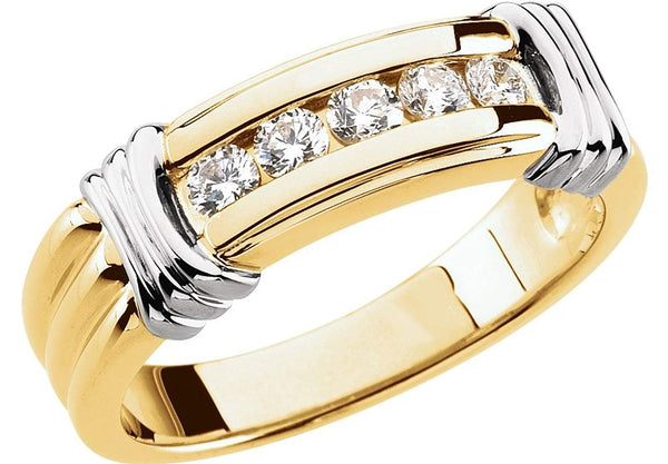 Men's 5-Stone Diamonds Two-Tone 7mm 14k Yellow and White Gold Ring, Size 11