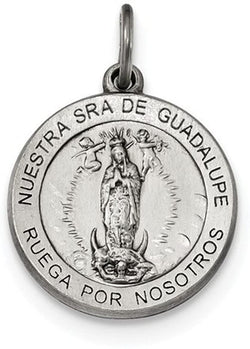 Sterling Silver Satin Antiqued Spanish Lady of Guadalupe Medal Pendant (21X18.5MM)