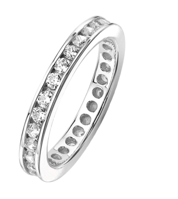 CZ Mirror Polished Rhodium Plated Sterling Silver Eternity Ring