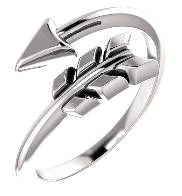 Platinum Bypass Arrow Ring, Size 8.25