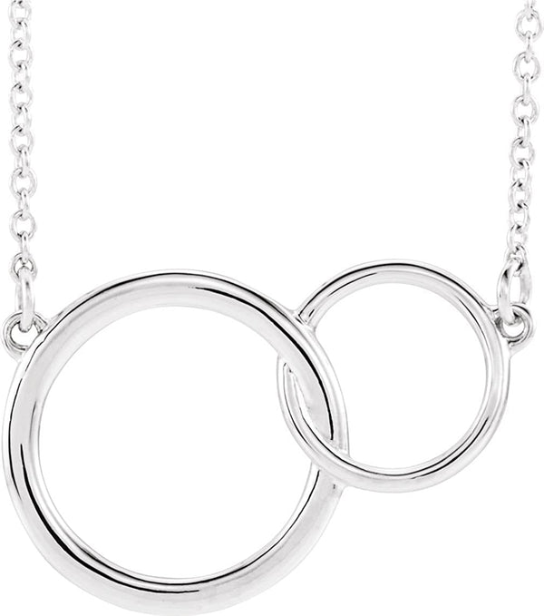 Platinum Interlocking Circle Necklace, 18""