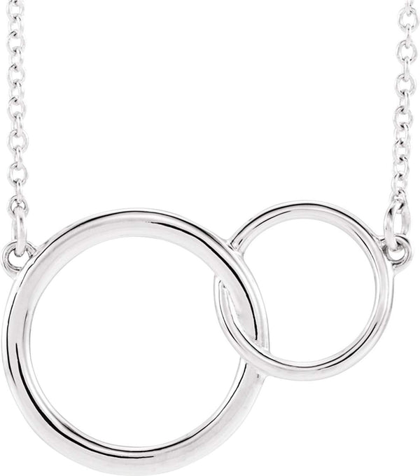 Interlocking Circle Necklace, Rhodium-Plated 14k White Gold, 18""