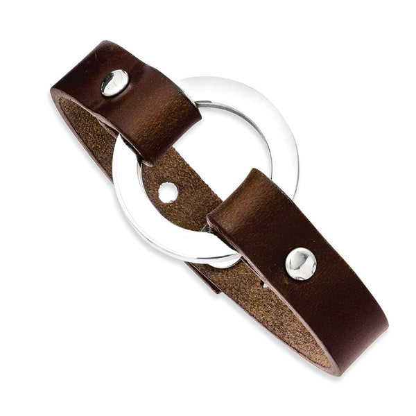 Men's Polished Stainless Steel 13mm Brown Leather Adjustable Bracelet, 9""