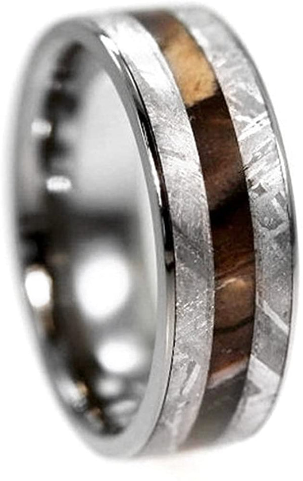 Gibeon Meteorite, Petrified Wood 7mm Comfort-Fit Titanium Ring, Size 12.25