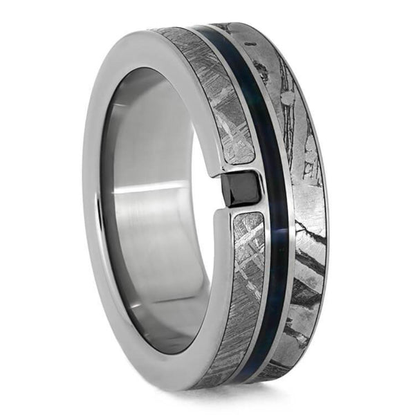 The Men's Jewelry Store (Unisex Jewelry) Black Diamond, Seymchan Meteorite, Blue Box Elder Wood, Gibeon Meteorite 8.5mm Titanium Comfort-Fit Wedding Band