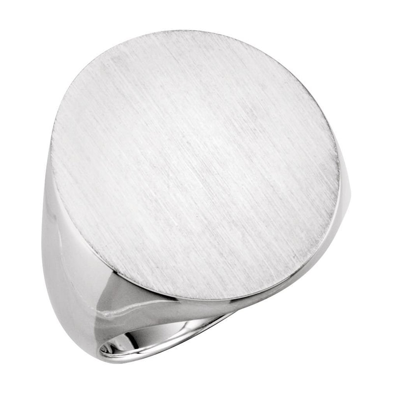 The Men's Jewelry Store Men's Sterling Silver Satin Brushed Oval Signet Ring, 22x20mm