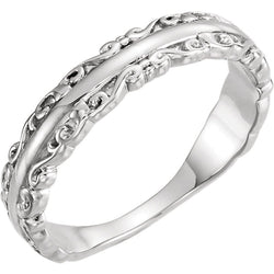 Scrollwork Stackable Ring, Sterling Silver