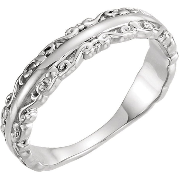 Scrollwork Stackable Ring, Rhodium-Plated 14k White Gold, Size 8