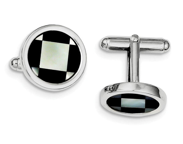 Rhodium-Plated Sterling Silver with Mother Of Pearl and Black Enamel Coin Cuff Links, 17MM