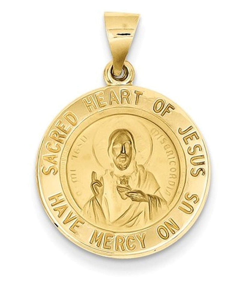 14k Yellow Gold Sacred Heart Of Jesus Medal Round Pendant (26X19MM)