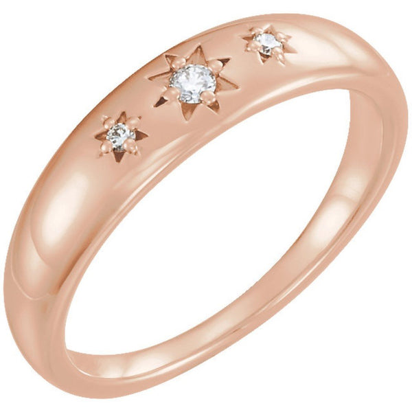 Diamond Starburst Ring, 14k Rose Gold (.05 Ctw, G-H Color, I1 Clarity), Size 6