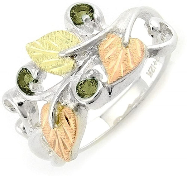 Lab Created Soude Peridot August Birthstone Ring, Sterling Silver, 12k Green and Rose Gold Black Hills Gold Motif, Size 8