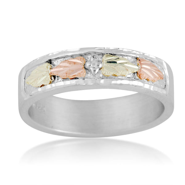 Women's Diamond-Cut Wedding Ring, Sterling Silver, 12k Green and Rose Gold Black Hills Gold Motif