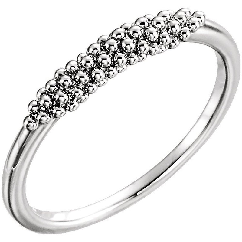 Platinum Cluster Beaded Comfort-Fit Ring, Size 7.75