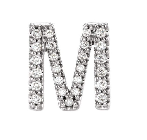 Sterling Silver Diamond Letter 'M' Initial Stud Earring (Single Earring) (.10 Ctw, GH Color, I1 Clarity)
