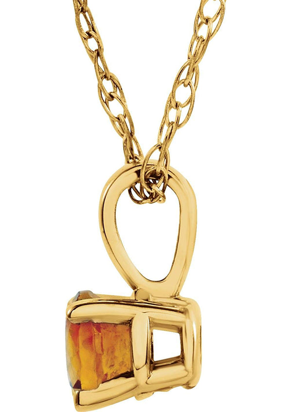 Children's Imitation Citrine 'November' Birthstone 14k Yellow Gold Pendant Necklace, 14""