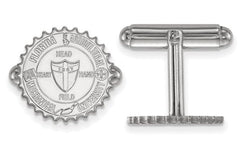 Rhodium-Plated Sterling Silver Florida A and M University Crest Round Cuff Links, 15MM
