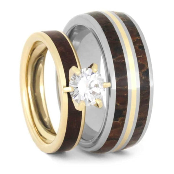 Moissanite, Dinosaur Bone, Maple Burl, 10k, 14k Yellow Gold Comfort-Fit Titanium Couples Wedding Band Set