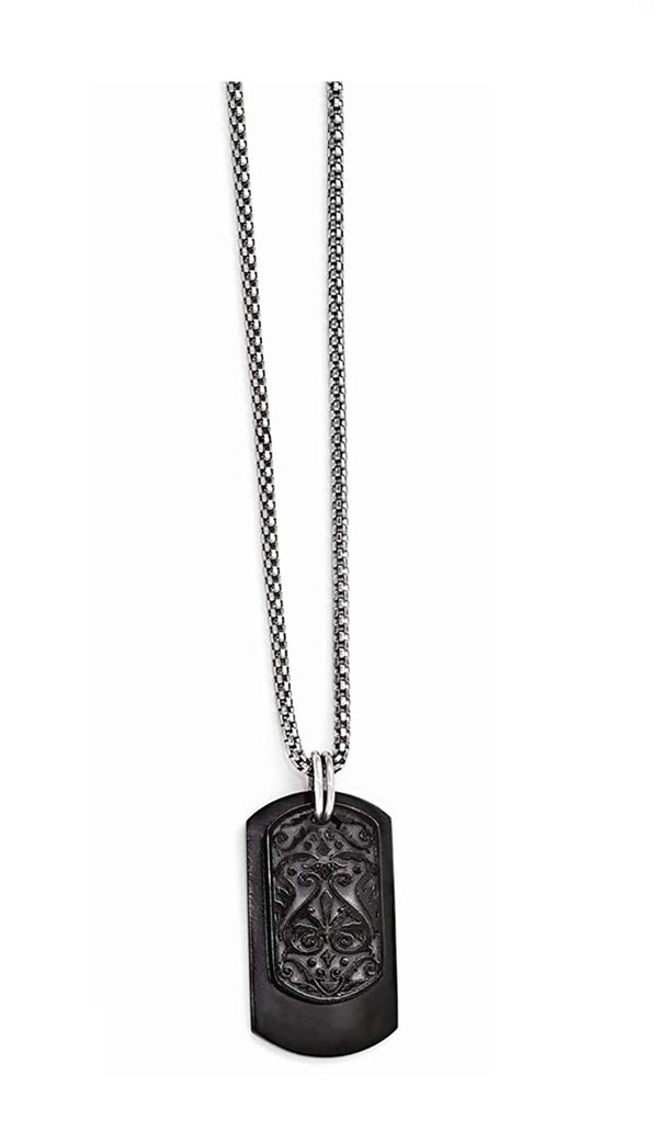 Edward Mirell Black Titanium and Sterling Silver Dog Tag Pendant Necklace, 20""