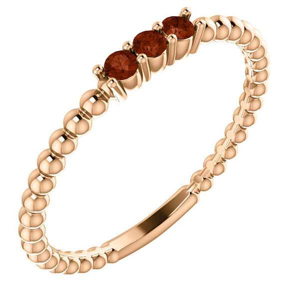 Mozambique Garnet Beaded Ring, 14k Rose Gold, Size 6