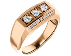 Men's 3 Stone Bright Set Diamond 14k Rose Gold Band, Size 11 (.50 Cttw, GH Color, I1 Clarity)