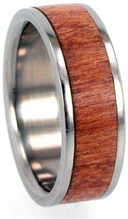 Cherry Wood Inlay 8mm Comfort-Fit Interchangeable Titanium Wedding Band, Size 9