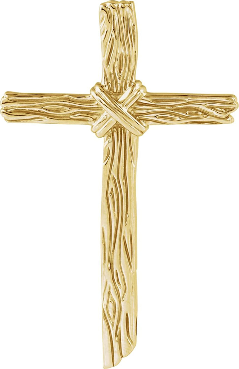Woodgrain Cross Brushed 18k Yellow Gold Pendant (50.75X32.25MM)