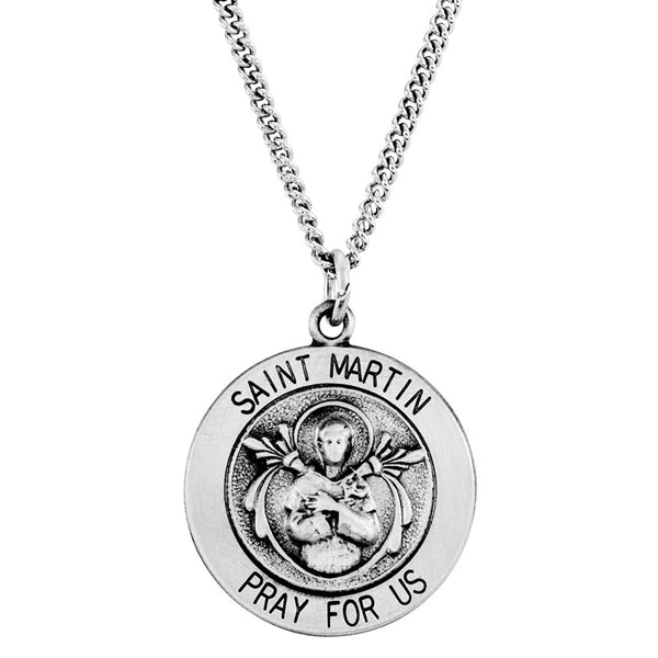 "Rhodium Plated Sterling Silver Round St. Martin de Porres Medal Necklace, 18"" (18.25MM)"