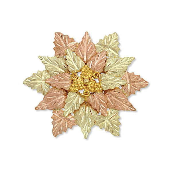 Diamond-Cut Brooch Pendant and Leaves Cluster, 10k Yellow Gold, 12k Green and Rose Gold Black Hills Gold Motif