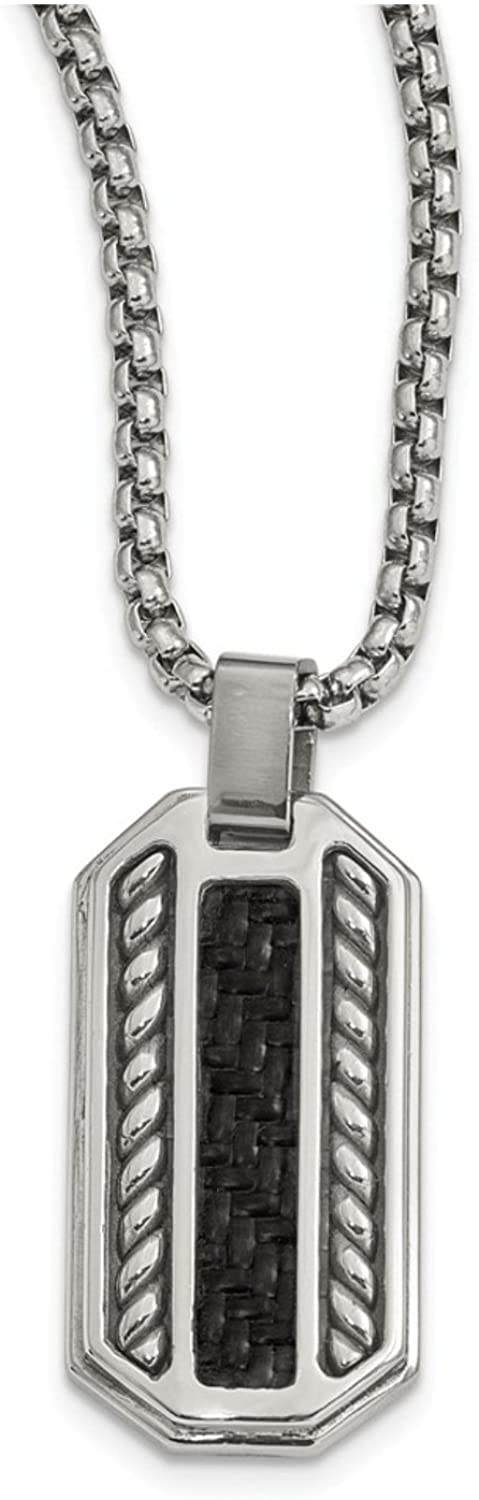 Edward Mirell Stainless Steel Black Carbon Fiber Dog Tag Pendant Necklace, 20""