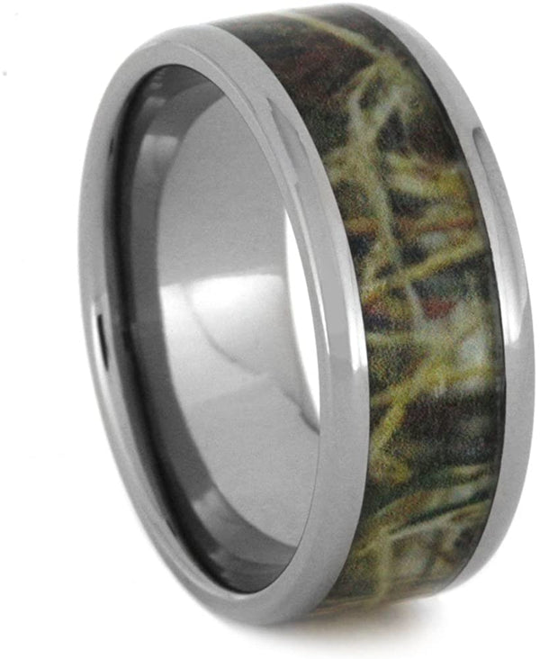 Army Camouflage 9mm Comfort-Fit Titanium Wedding Band, Size 14.5