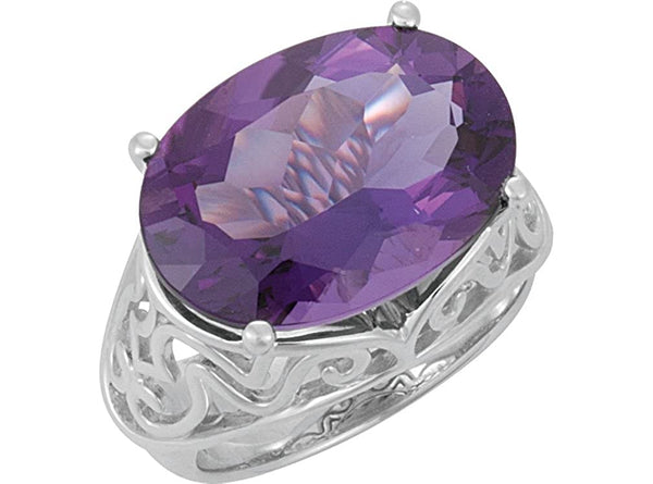 Amethyst 11.15 Ct February Birthstone Sterling Silver Filigree Ring, Size 5.75