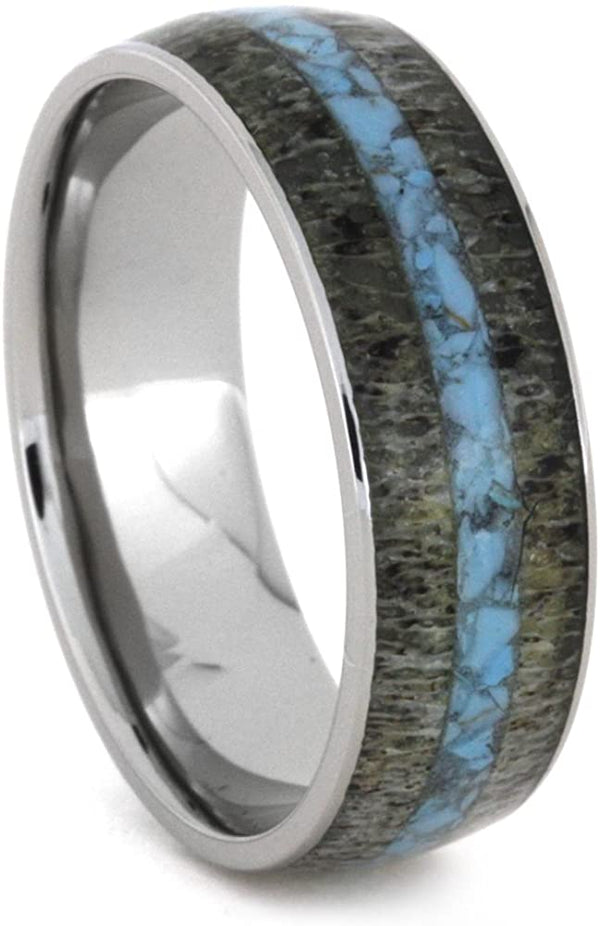 Turquoise, Deer Antler 8mm Comfort-Fit Titanium Wedding Band, Size 5