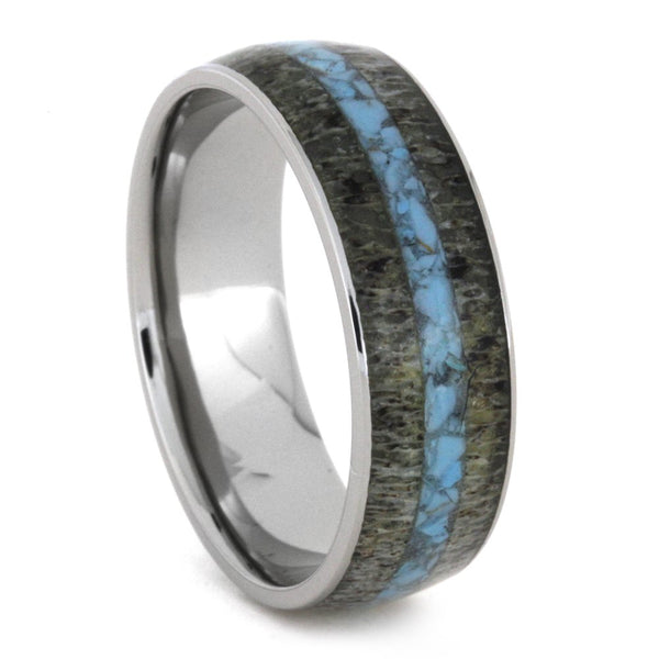 Turquoise, Deer Antler 8mm Comfort-Fit Titanium Band