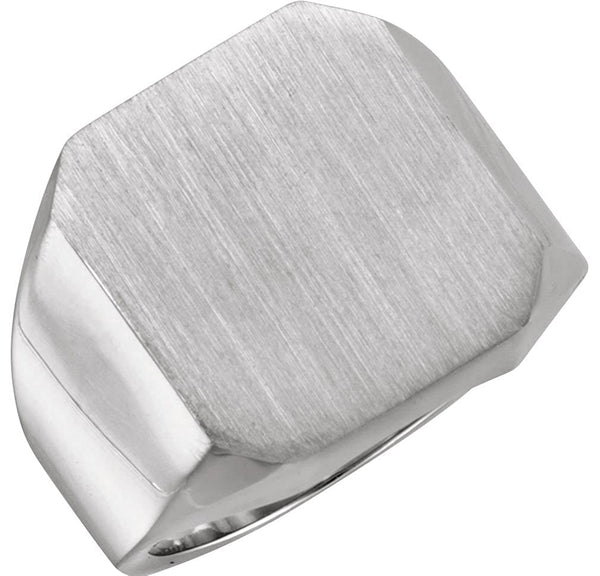 Men's Brushed Signet Ring, 18X16mm 18kX1 White Gold, Size 8 (18X16MM)