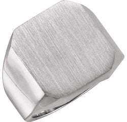 Men's Brushed Signet Ring, 10kX1 White Gold (18X16MM)