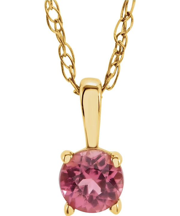 Children's Imitation Pink Tourmaline 'October' Birthstone 14k Yellow Gold Pendant Necklace, 14""