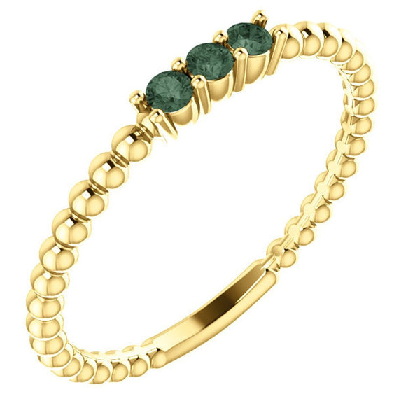 Chatham Created Alexandrite Beaded Ring, 14k Yellow Gold, Size 7.25