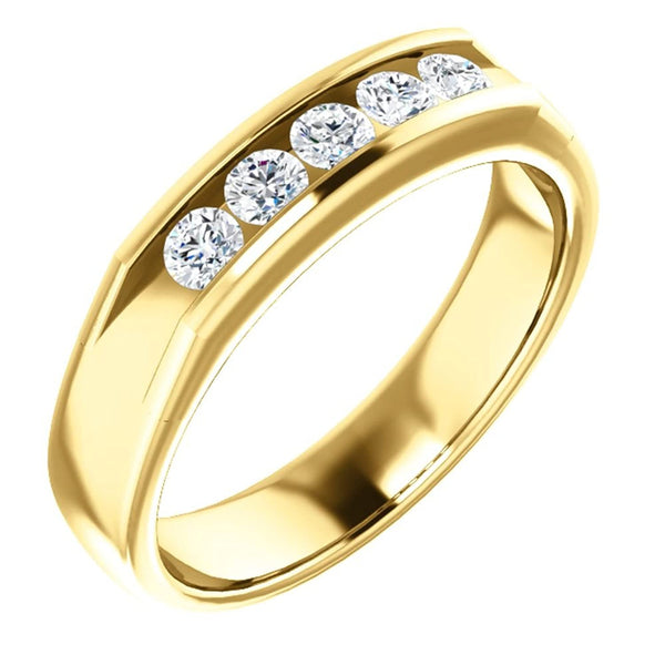 Men's 5-Stone Diamond Wedding Band, 14k Yellow Gold (.5 Ctw, Color G-H, SI2-SI3 Clarity) Size 10