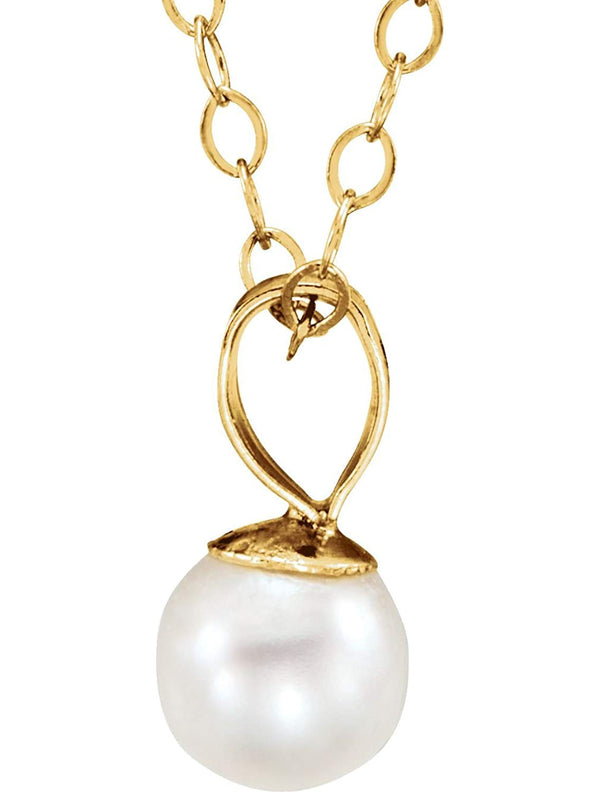 Girl's Freshwater Cultured Akoya Pearl 14k Yellow Gold Necklace (5mm), 15""