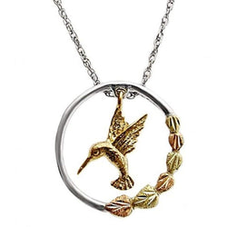 Hummingbird Pendant Necklace, Sterling Silver, 10k Yellow Gold, 12k Green and Rose Gold Black Hills Gold Motif, 18""