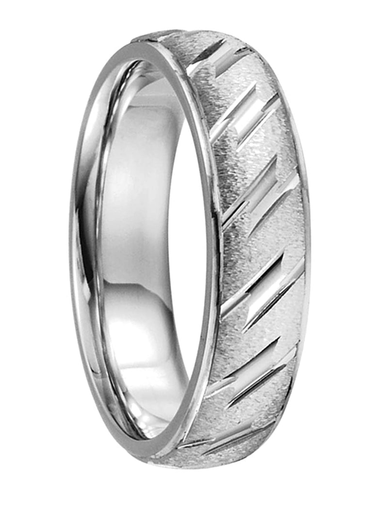 14k White Gold Ice-Finish, Diamond-Cut Grooved 6mm Comfort-Fit Band