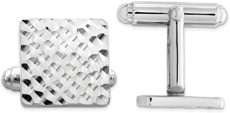 Italian Rhodium-Plated Sterling Silver Diamond-Cut Square Cuff Links, 15 Millimeters